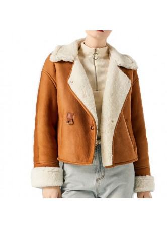 Shearling Sheepskin Leather Lamb Fur Jacket Coat Size S M Women's Caramel Brown Beige