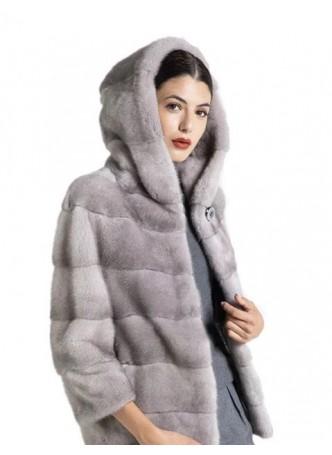 Mink Fur Jacket Coat with HOOD Women's Sapphire Blue