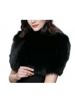 Knitted Fox Fur Black Wrap Tube  Eternity Scarf Collar Stole Stretchable Women's