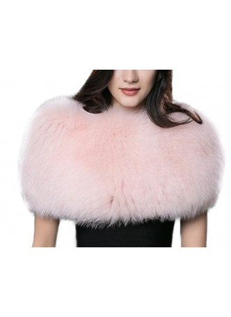Knitted Fox Fur Pink Wrap Tube  Eternity Scarf Collar Shawl Stole Stretchable Women's
