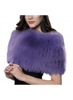 Knitted Fox Fur Purple Wrap Tube  Eternity Scarf Collar Shawl Stole Stretchable Women's