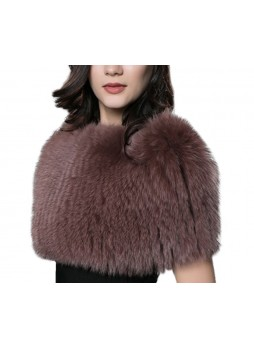 Knitted Fox Fur Brown Wrap Tube  Eternity Scarf Collar Shawl Stole Stretchable Women's
