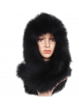 Knitted Black Fox Fur Hood Hat Scarf Women's