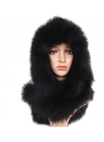 Knitted Black Fox Fur Hood Hat Scarf Women's