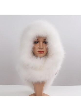 Knitted White Fox Fur Hood Hat Scarf Women's