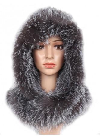 Knitted Silver Fox Fur Hood Hat Scarf Women's
