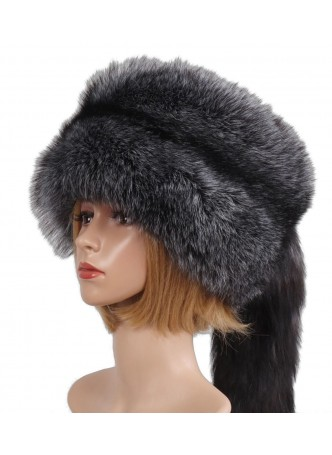 Silver Fox Fur Hat with Tail Davy Crockett Style Men Women