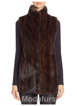 Mink Fur Vest  Women's Natural Dark Ranch