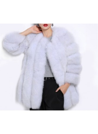 Norwegian Blue Fox Fur Jacket  Coat Women
