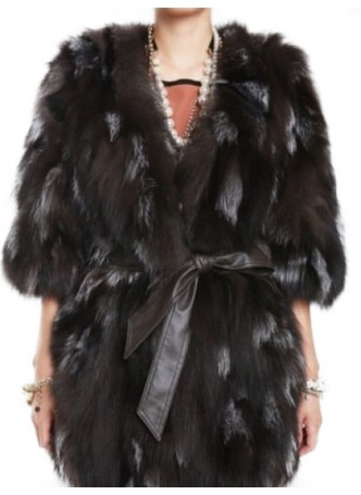 Fox Fur Silver & Black  Jacket Coat  Vest  Women's
