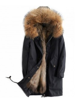 Women's Sz 6/8 S/M Black Winter Coat with Real Raccoon Fur HOOD & Lining Parka
