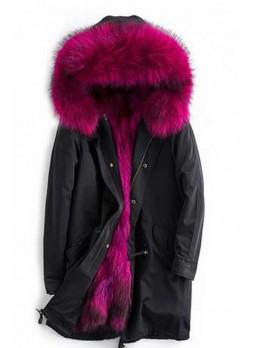 Women's Sz 6/8 S/M Black Winter Coat Dark Pink Raccoon Real Fur HOOD & Lining