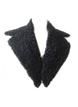 Men's Persian Lamb Fur Collar Black