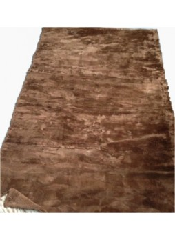 Beaver Sheared Fur Plate Throw Blanket Bedspread Rug Brown Home Decor